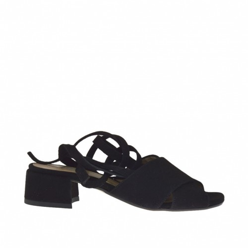 Woman's laced sandal in black suede heel 3 - Available sizes:  32, 33, 34