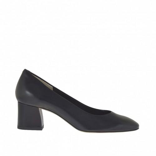Escarpin pour femmes en cuir noir avec bout carré talon 5 - Pointures disponibles:  32, 33