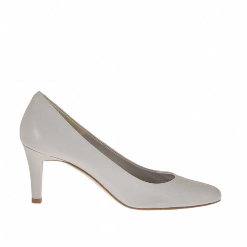 Woman's pump shoe in light grey leather heel 7 - Available sizes:  43, 44, 46
