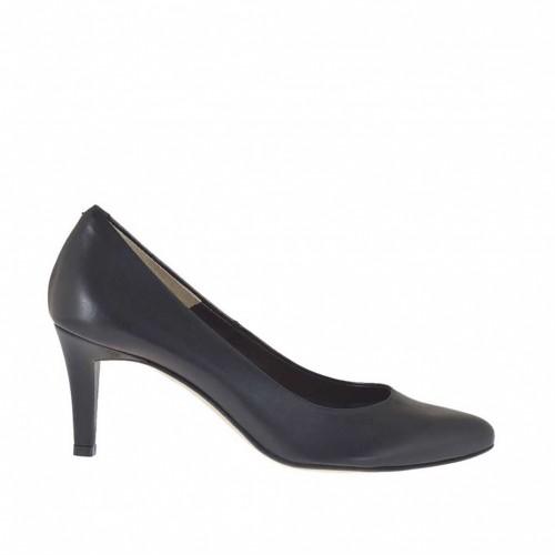 Escarpin en cuir noir pour femmes talon 7 - Pointures disponibles:  46