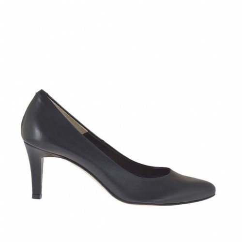 Pump shoe for woman in black leather heel 7 - Available sizes:  46