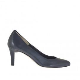 Scarpa decolté da donna in pelle blu tacco 7 - Misure disponibili: 45, 46