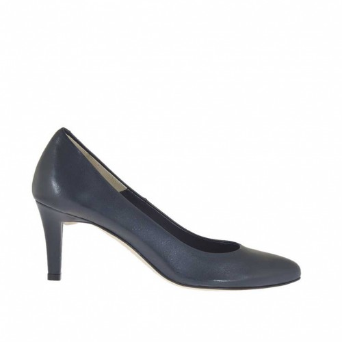 Pump shoe for woman in blue leather heel 7 - Available sizes:  46