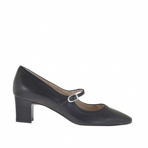 Woman's pump shoe with strap in black leather heel 5 - Available sizes:  46