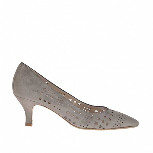 Woman's pump in pierced taupe and platinum laminated leather heel 5 - Available sizes:  43, 44