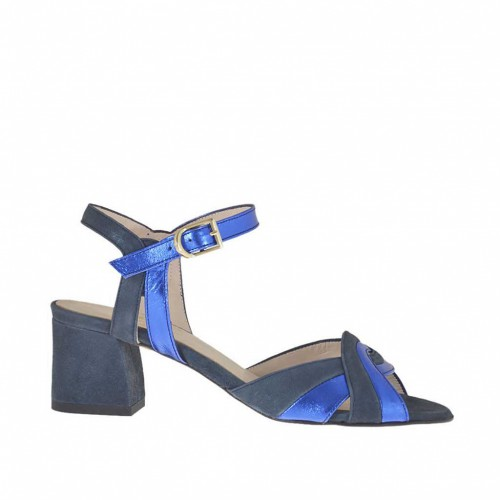 Woman's strappy sandal in blue suede and electric blue laminated leather heel 5 - Available sizes:  45, 46