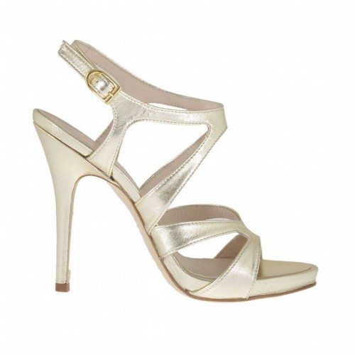 Woman's sandal in platinum lamé leather with inner platform heel 11 - Available sizes:  43, 44, 46