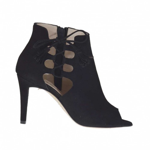 Woman's open shoe with laces and zipper in black suede heel 9 - Available sizes:  32, 42