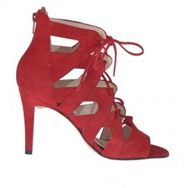 Scarpa aperta da donna con lacci e cerniera in camoscio rosso tacco 9 - Misure disponibili: 31