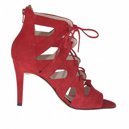 Woman's open shoe with laces and zipper in red suede heel 9 - Available sizes:  31