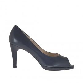 Scarpa aperta da donna in pelle blu con plateau tacco 8 - Misure disponibili: 34, 43, 44, 45, 46