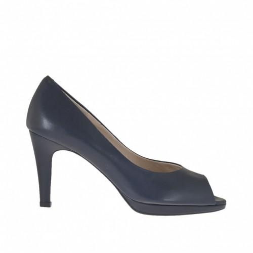 Escarpin à bout ouvert pour femmes en cuir bleu avec plateforme talon 8 - Pointures disponibles:  43, 46