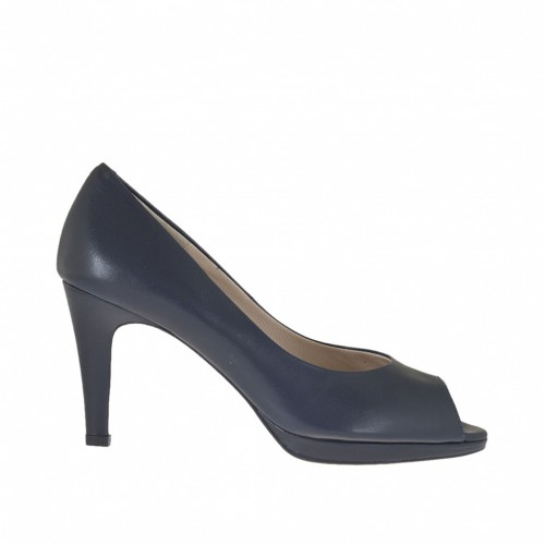 Woman's open shoe in blue leather with platform heel 8 - Available sizes:  43, 46