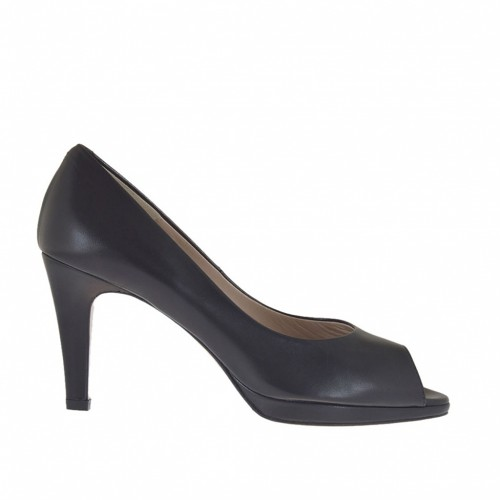 Woman's open shoe in black leather with platform heel 8 - Available sizes:  46