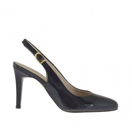 Woman's slingback pump in black patent leather heel 9 - Available sizes:  31