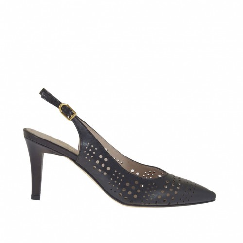 Woman's slingback pump in black pierced leather heel 7 - Available sizes:  31, 45