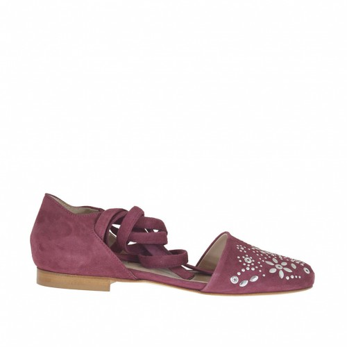 Woman's open shoe with studs and lace in plum suede heel 1 - Available sizes:  43, 46