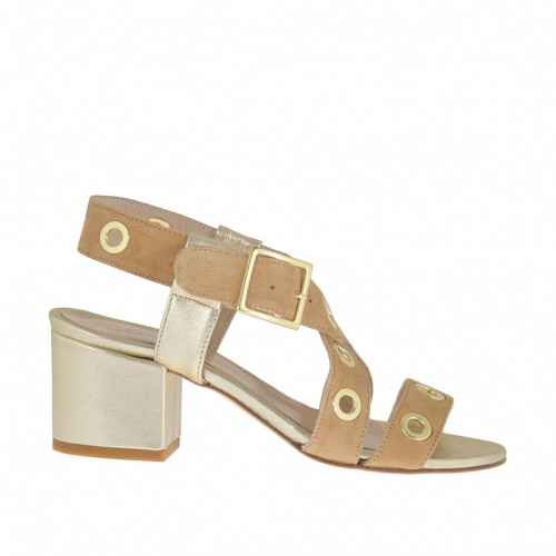 Woman's sandal with studs in beige suede and platinum laminated leather heel 5 - Available sizes:  42, 45