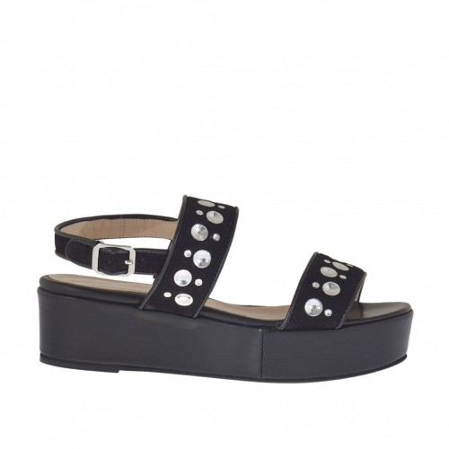 Woman's sandal with studs in black suede and leather wedge heel 4 - Available sizes:  44