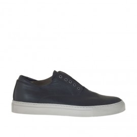 Men's sports shoe with elastic and optional laces in pierced black leather - Available sizes:  37, 47, 50