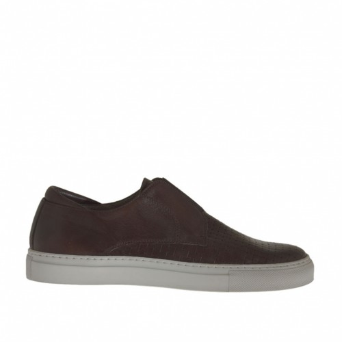 Men's sports shoe with elastic in braided dark brown leather - Available sizes:  47