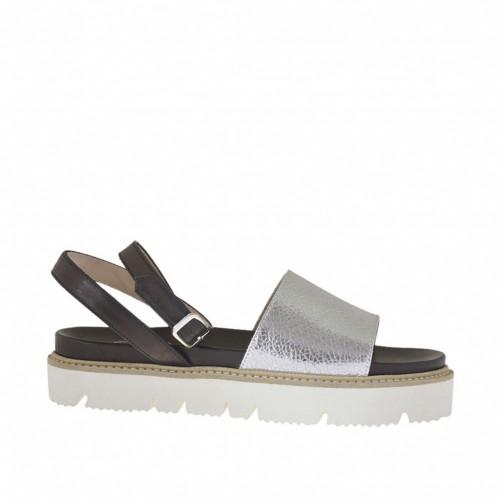 Sandale pour femmes avec courroie en cuir lamé argent et cuir noir talon compensé 2 - Pointures disponibles:  34