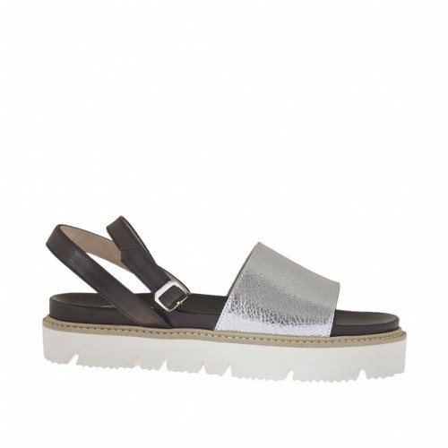 Woman's strap sandal in silver laminated leather and black leather wedge heel 2 - Available sizes:  34