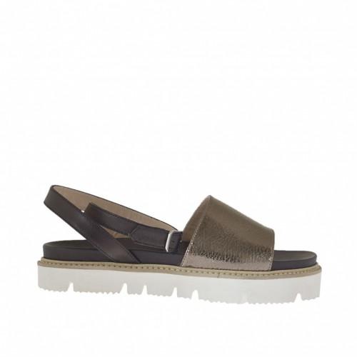Sandale pour femmes avec courroie en cuir noir et cuir lamé bronze à canon talon compensé 2 - Pointures disponibles:  33, 34