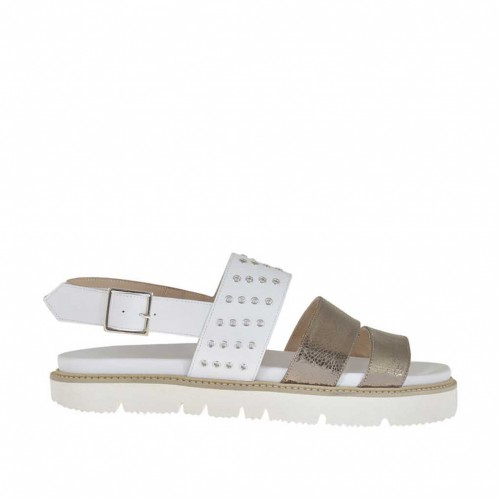 Woman's sandal with studs in gunmetal bronze laminated leather and white leather wedge heel 2 - Available sizes:  42