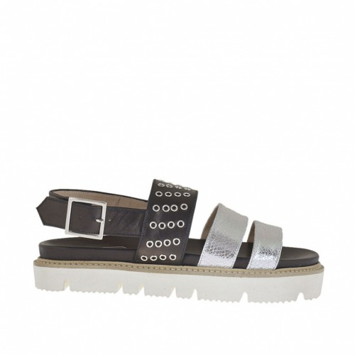 Woman's sandal with studs in silver laminated leather and black leather wedge heel 2 - Available sizes:  32, 34