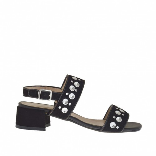 Woman's sandal with studs in black suede and leather heel 3 - Available sizes:  32, 33, 42
