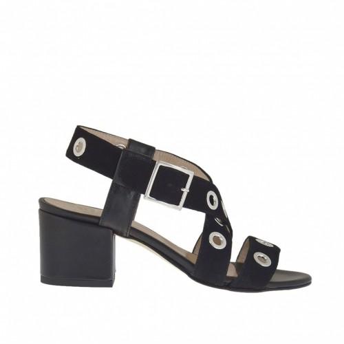 Sandale pour femmes avec goujons en daim et cuir noir talon 5 - Pointures disponibles:  33, 44, 45