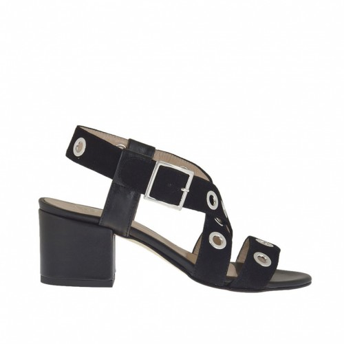 Woman's sandal with studs in black suede and leather heel 5 - Available sizes:  33, 44, 45