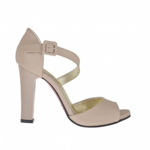 Chaussure ouvert pour femmes en cuir beige avec courroie et plateforme talon 9 - Pointures disponibles:  46
