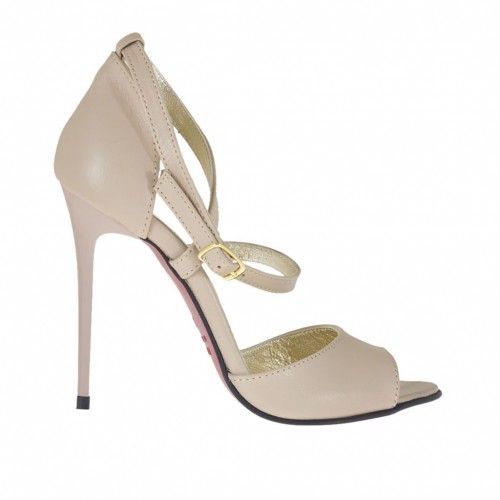 Woman's open shoe with crossed strap in beige leather heel 10 - Available sizes:  42