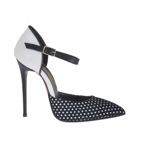 Woman's open shoe with strap in polka-dot black suede and black and white leather heel 10 - Available sizes:  42
