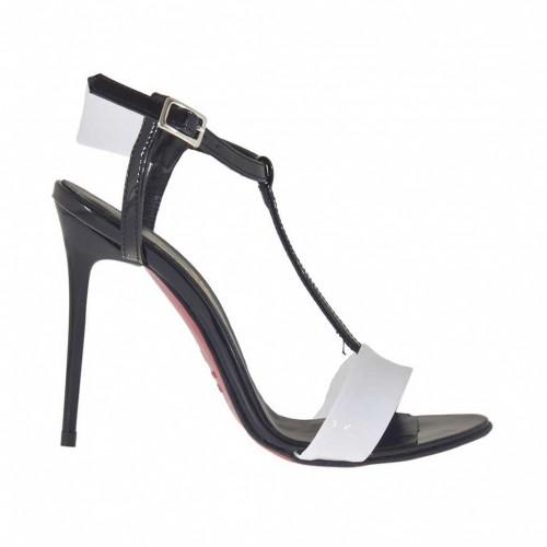 Sandale salomé pour femmes en cuir verni blanc et noir avec courroie talon 9 - Pointures disponibles:  42, 45