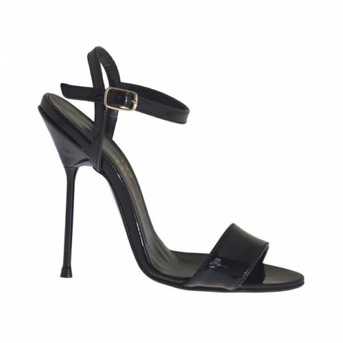 Sandale pour femmes en cuir verni noir talon 11 - Pointures disponibles:  34, 46