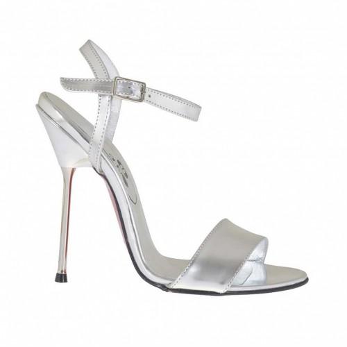 Sandale pour femmes en cuir verni lamé argent talon 11 - Pointures disponibles:  34