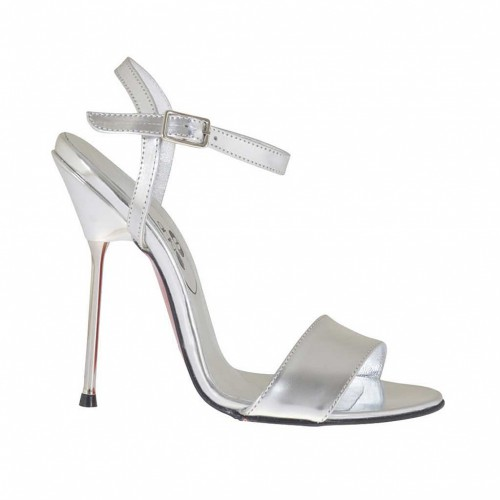 Woman's sandal in silver lamé patent leather heel 11 - Available sizes:  34