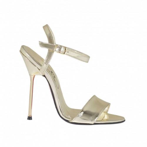 Woman's sandal in platinum lamé patent leather heel 11 - Available sizes:  34, 46