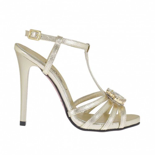Woman's T-strap platform sandal with strass in platinum laminated leather with varnished heel 11 - Available sizes:  32