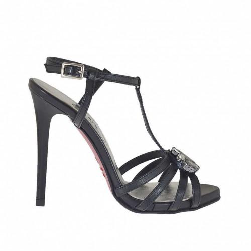 Sandale salomé pour femmes en cuir noir avec courroie, plateforme, strass et talon en vernis 11 - Pointures disponibles:  45, 46
