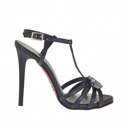 Woman's T-strap platform sandal with strass in black leather with varnished heel 11 - Available sizes:  42, 45, 46