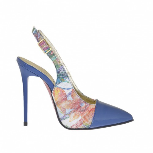 Woman's slingback pump in multicolored printed leather and electrical blue patent leather heel 10 - Available sizes:  42, 43, 44, 45, 46
