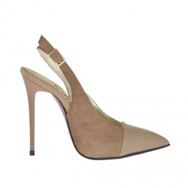Woman's slingback pump in beige suede and patent leather heel 10 - Available sizes: 32, 33, 42, 43, 44