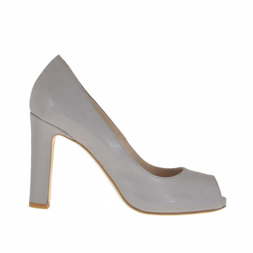 Woman's open toe pump with inner platform in dove grey leather heel 9 - Available sizes:  43, 44, 45