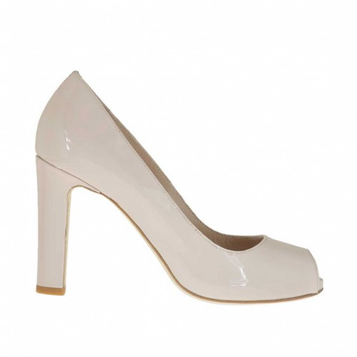 Woman's open toe pump with inner platform in powder-colored patent leather heel 9 - Available sizes:  43, 44