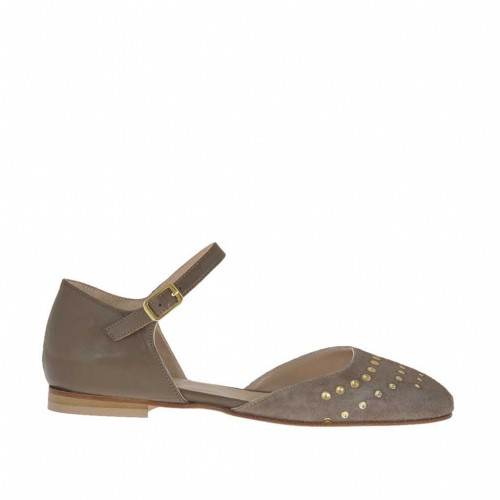 Woman's open shoe with strap and studs in taupe leather and suede heel 1 - Available sizes:  32, 43, 46