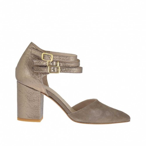 Woman's open shoe with straps in taupe suede and cannon bronze laminated leather heel 7 - Available sizes:  44